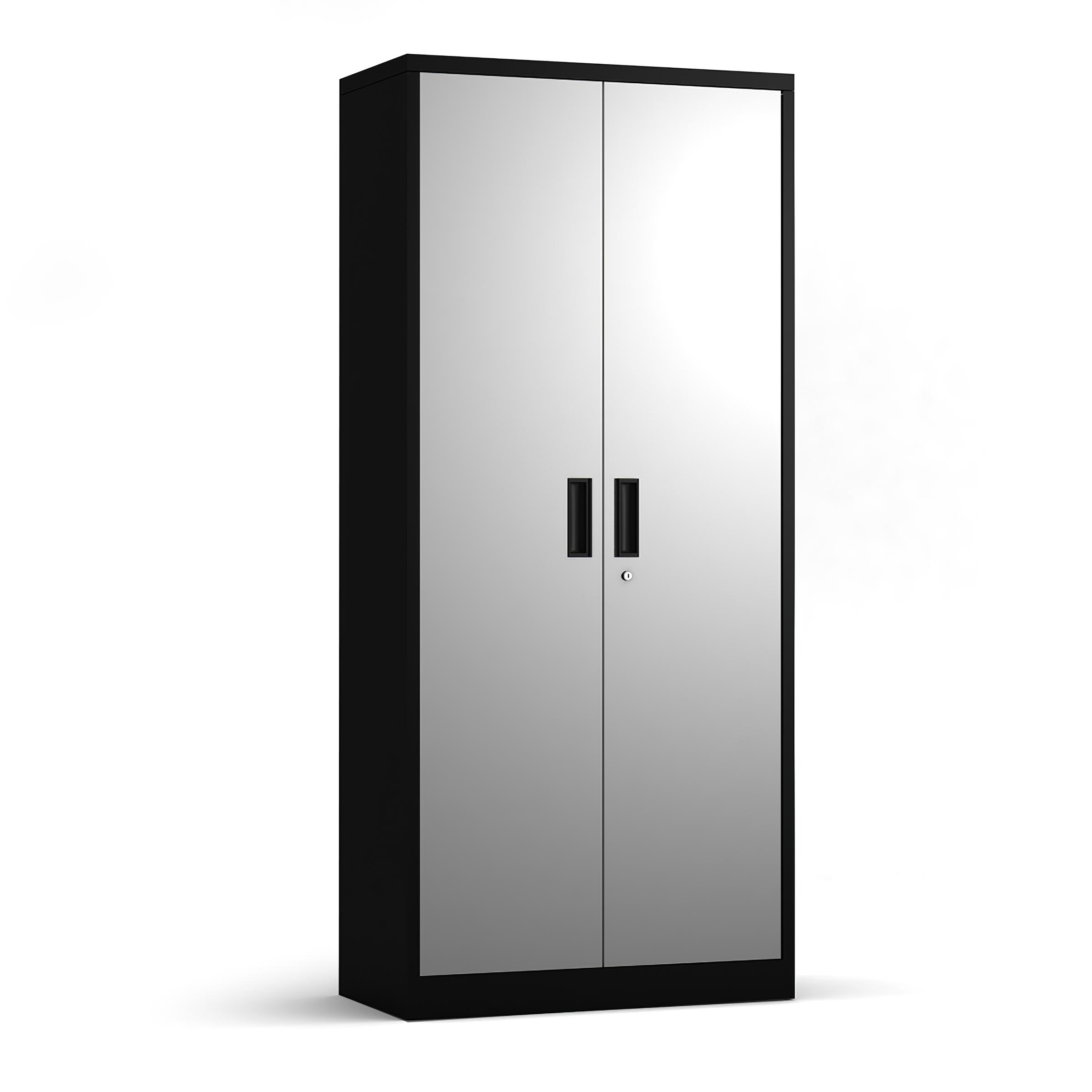钢制储物柜5层金属储物柜,带4个可调式搁板和可锁门黑色