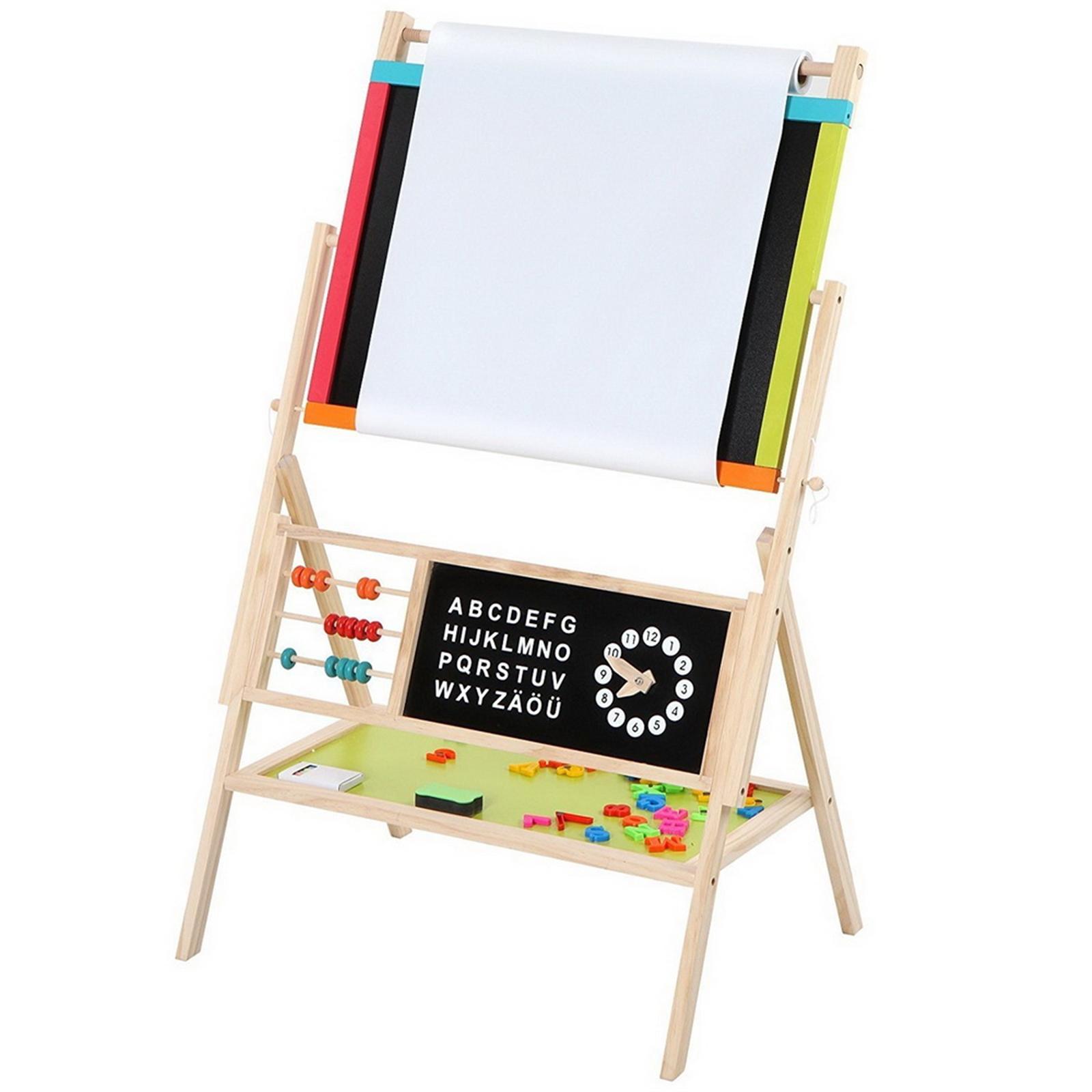 【TS】木质玩具:多功能教学画架 配黑板/彩色粉笔/黑白板擦/卷纸/算珠 W12B103