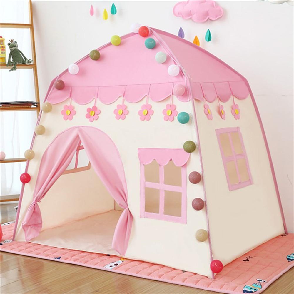 孩子们玩帐篷公主玩房子玩粉红色城堡玩帐篷