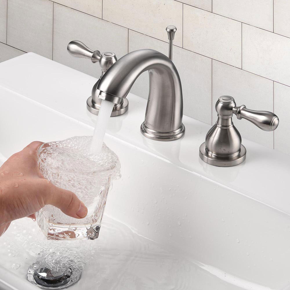 Faucet 3 Hole Bathroom Faucet Brushed Nickel Fits ...