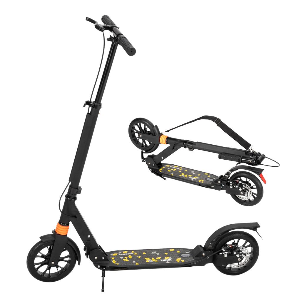 成人代步铝合金滑板车 三档调节 可折叠 双减震 黑色