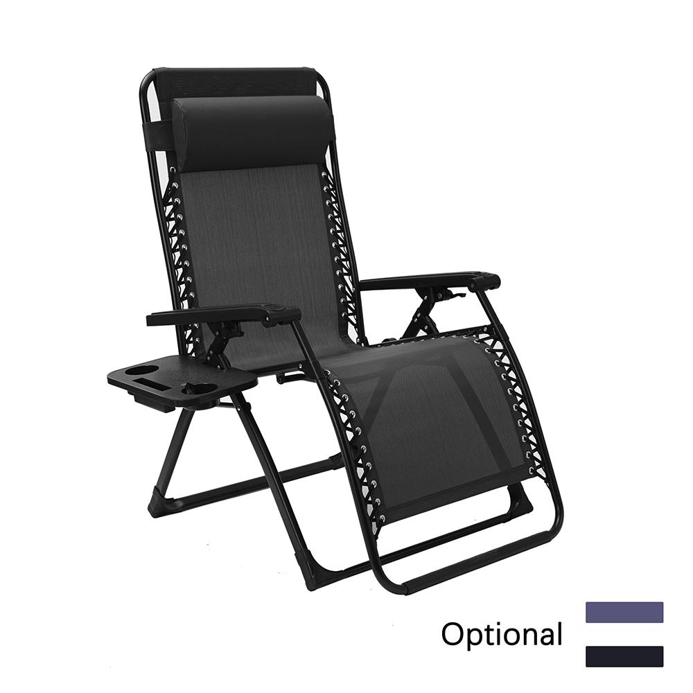 户外露台折叠式零重力躺椅、带头枕和杯架的露营躺椅特斯林折叠椅,适用于泳池边、后院草坪和海滩