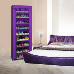 Fashionable Room-saving 9 Lattices Non-woven Fabric Shoe Rack - Purple