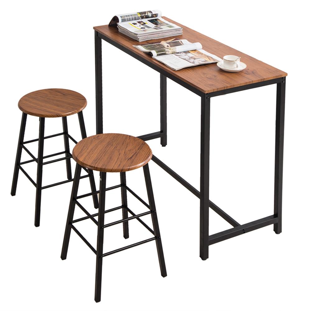 PVC木纹简约吧桌 圆吧凳(一桌二凳)【107x47x92cm】