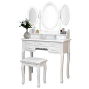 可折叠3面镜子梳妆台7珠宝化妆品化妆品收纳抽屉卧室化妆台凳套装