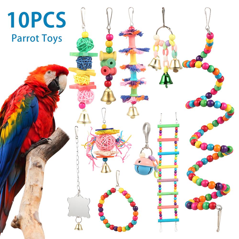 10只/套组合鹦鹉玩具鸟用品鹦鹉叮咬玩具鸟玩具鹦鹉有趣的摇摆球铃站立训练玩具