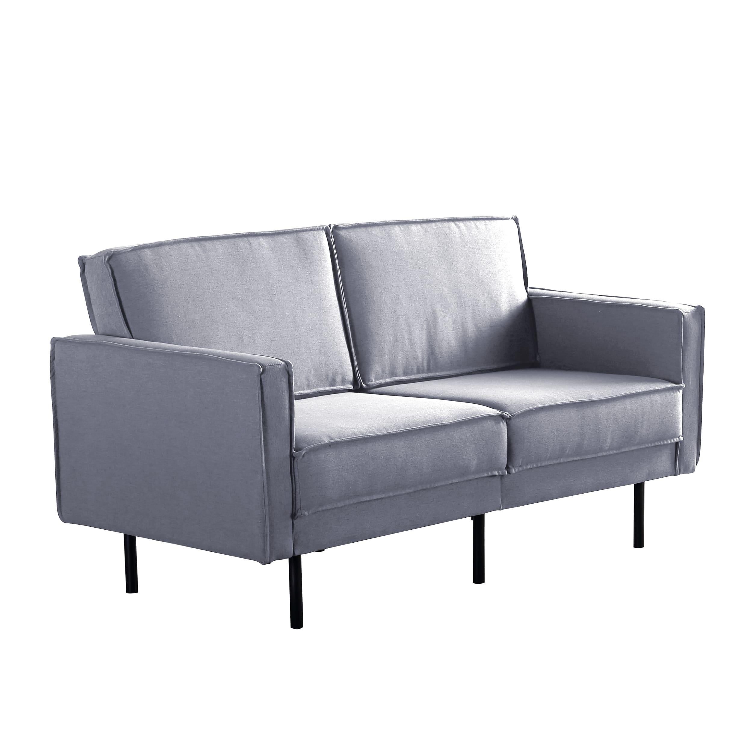 简约时尚实木框架双位双扶手沙发