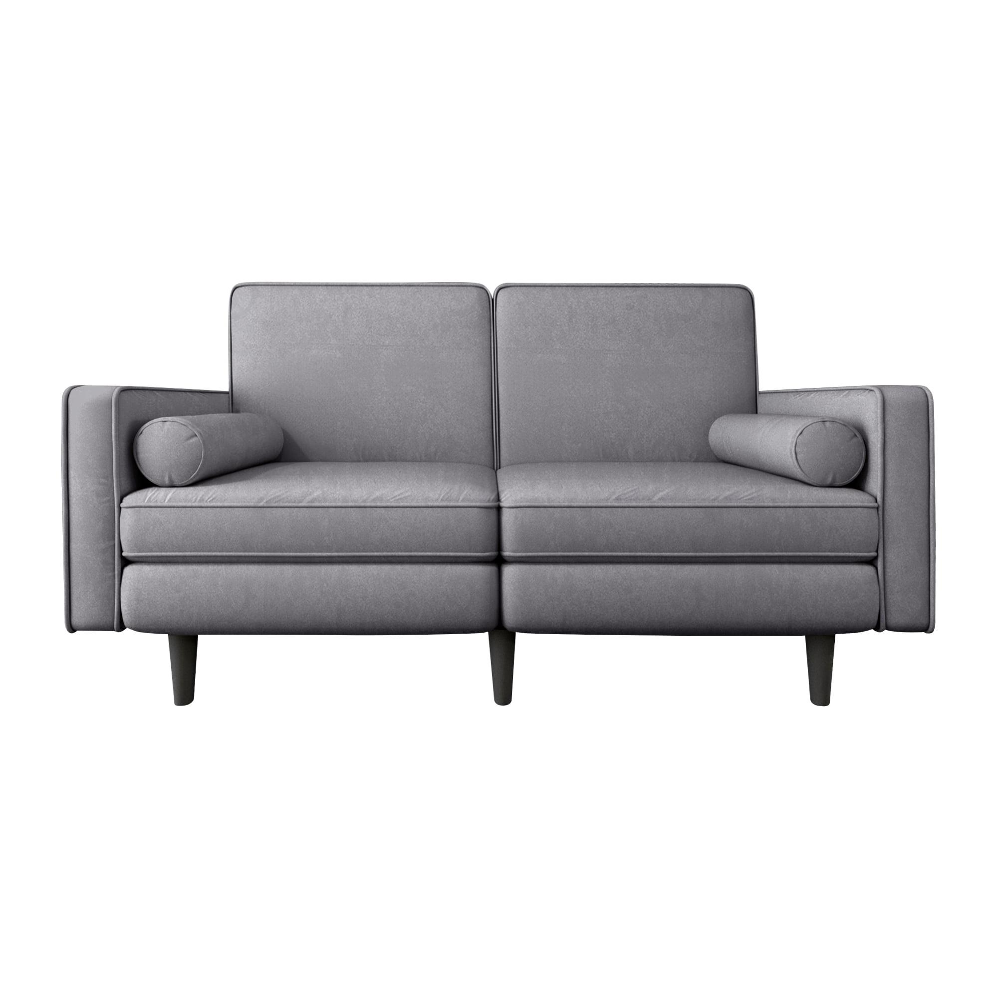 北欧布艺两人绒布沙发 - 灰色