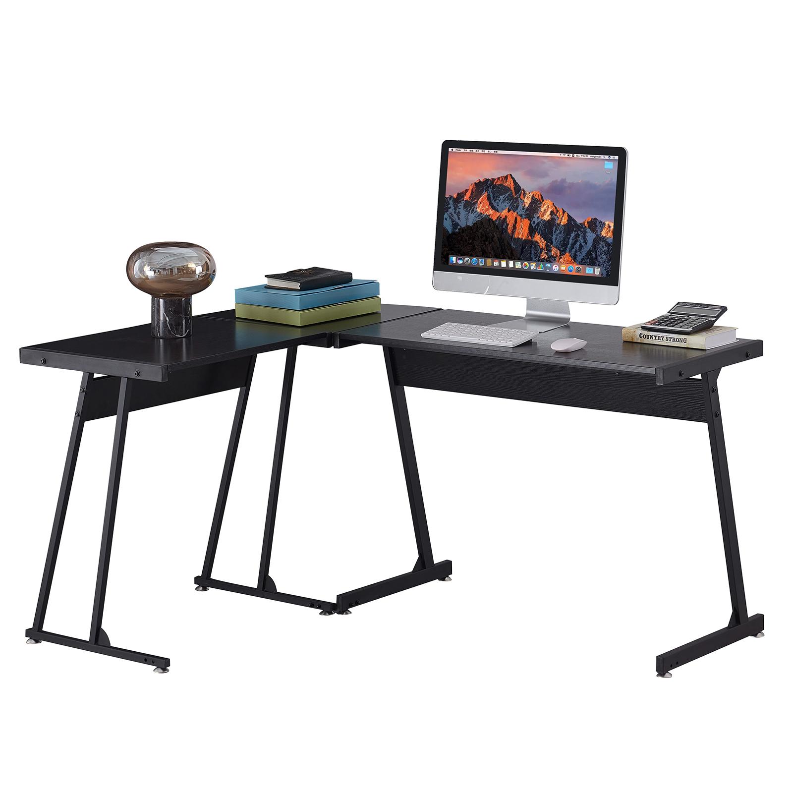 多功能L形游戏桌办公桌-黑+木纹