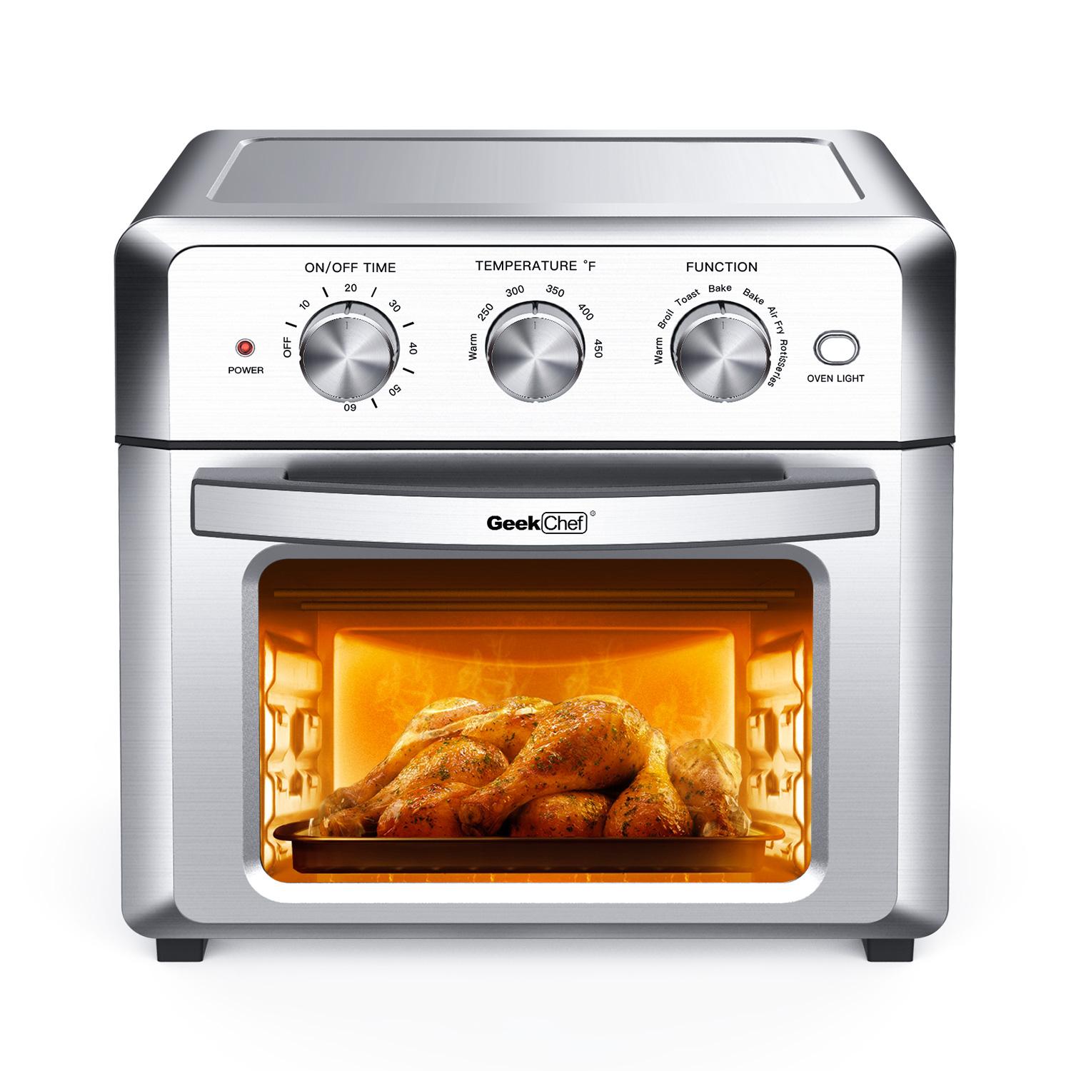 18L空气烤箱,空气炸锅Geek Chef Air Fryer Toaster Oven, 4 Slice 19QT Convection Airfryer Countertop Oven, Roast, Bake, Broil, Reheat, Fry Oil-Free, Cooking 4 Accessories Included, Stainless Steel,1500W