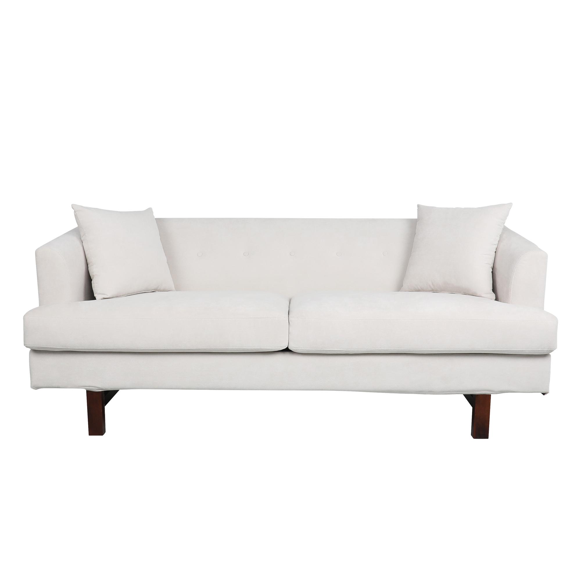 当代3人座布艺沙发,带重音枕头-骨白色/深灰色