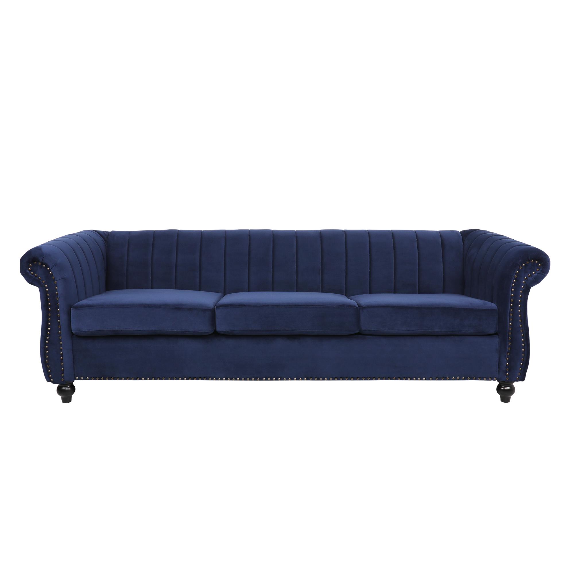 天鹅绒深蓝色3人座沙发/天鹅绒墨绿色3人座沙发
