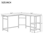复古色L型书桌