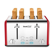 Geek chef 4切片不锈钢超宽槽多士炉,带百吉饼/除霜/取消功能的双控制面板,用于烤面包的6种烘烤面包的灯罩设置,可拆卸的面包屑托盘(红色)禁止在亚马逊上