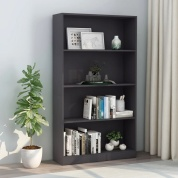 4-Tier Book Cabinet Gray 31.5