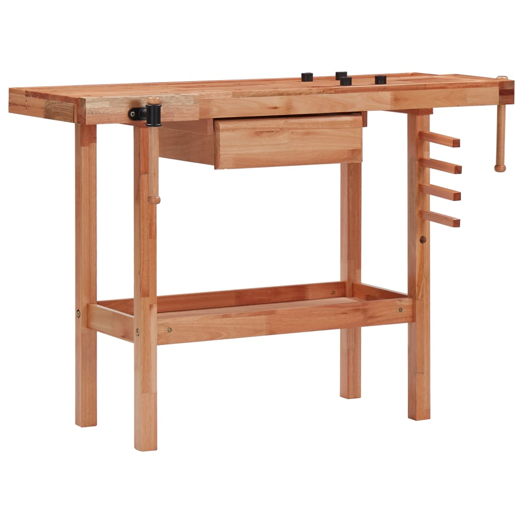 Carpentry Workbench with Drawer and 2 Vices Hardwood