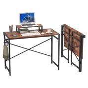 折叠桌 无需组装 办公桌,带显示器升降器和 3 个挂钩,适用于家庭和户外(棕色)