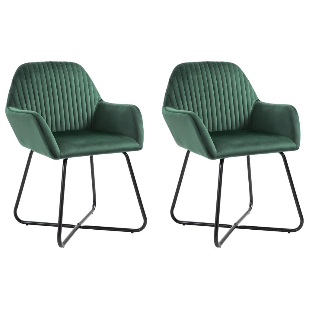 Dining Chairs 2 pcs Green Velvet