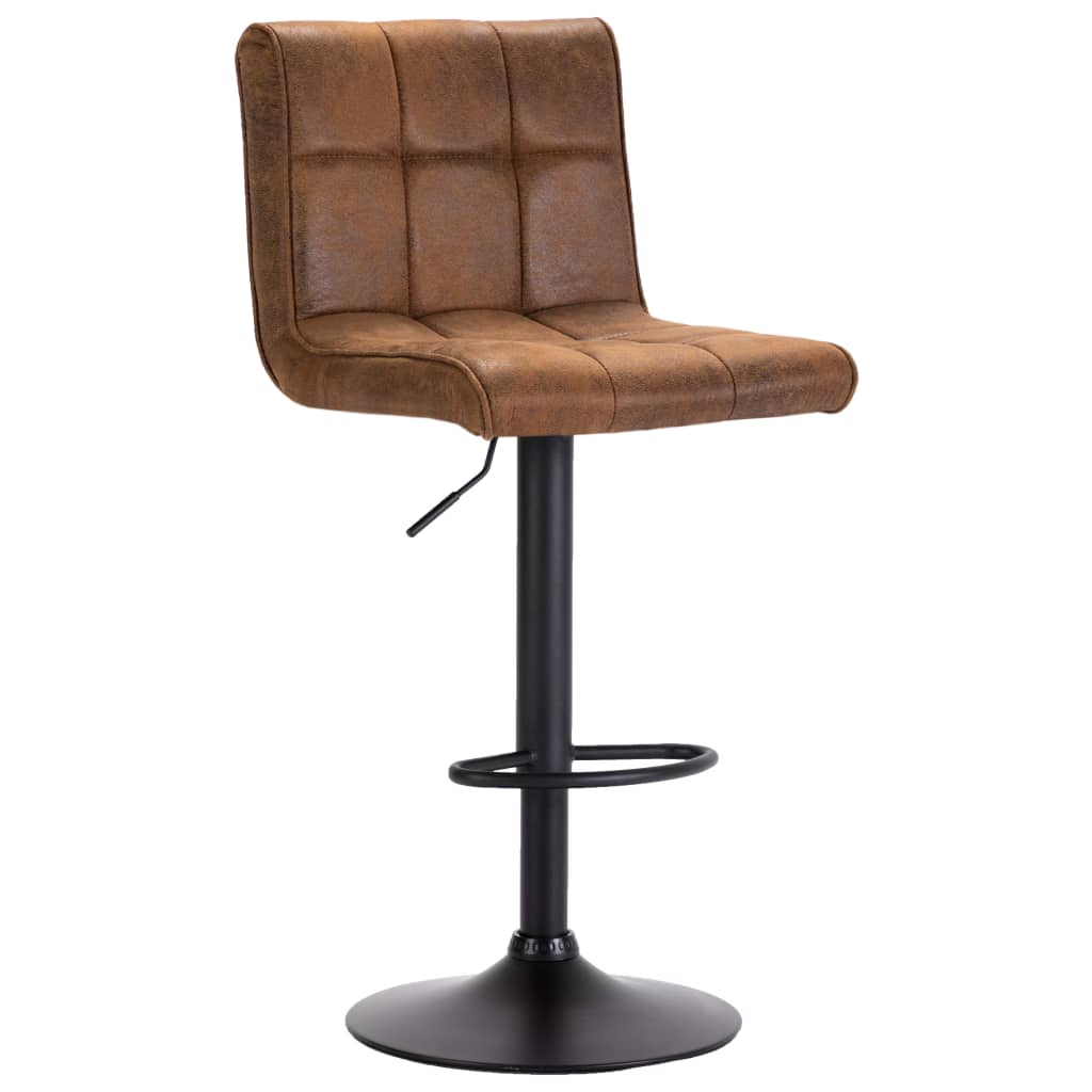 Bar Stool Brown Faux Suede Leather