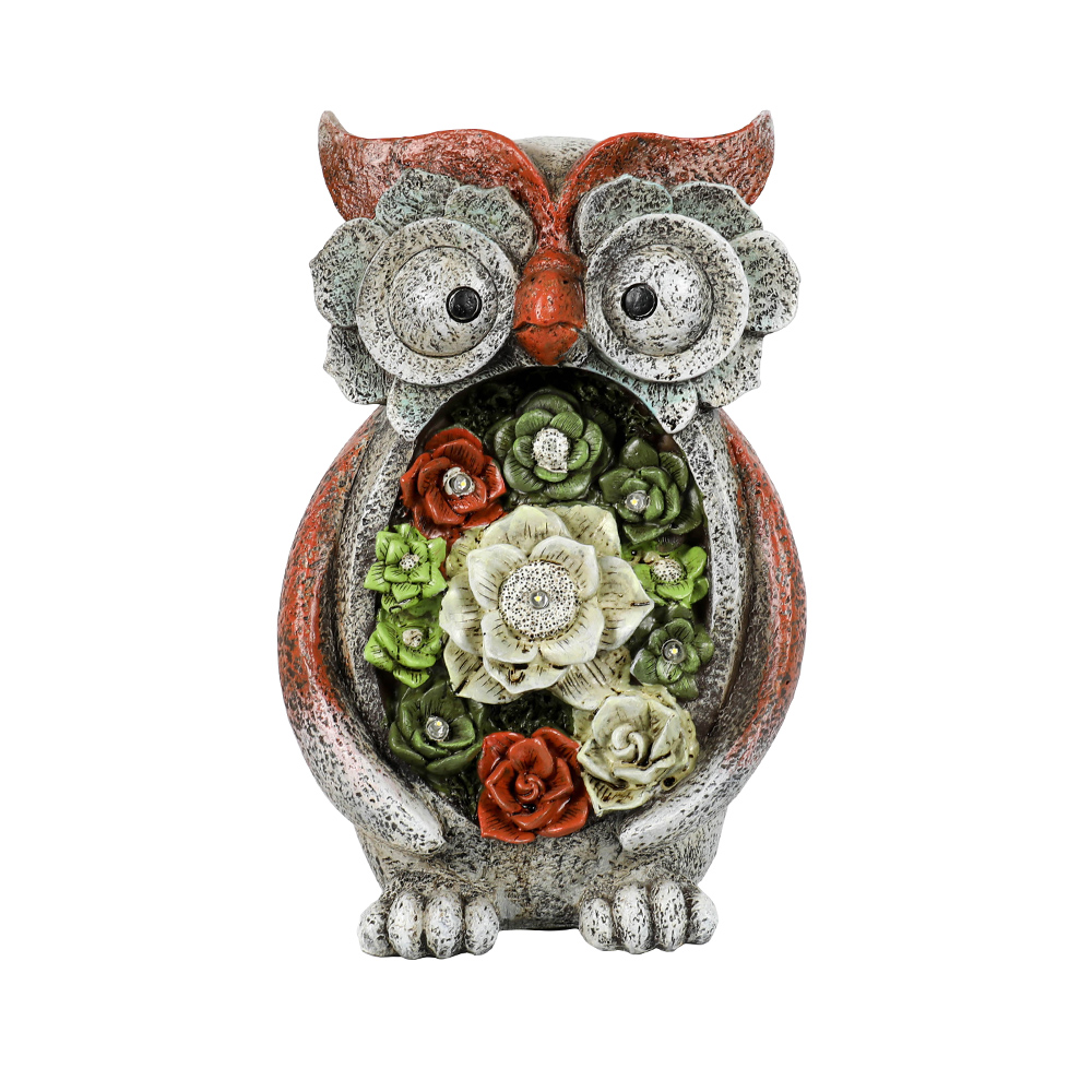 Garden Statue Owl Figurines,Solar Powered Resin Animal Sculpture with 5 Led Lights for Patio,Lawn, Garden Decor