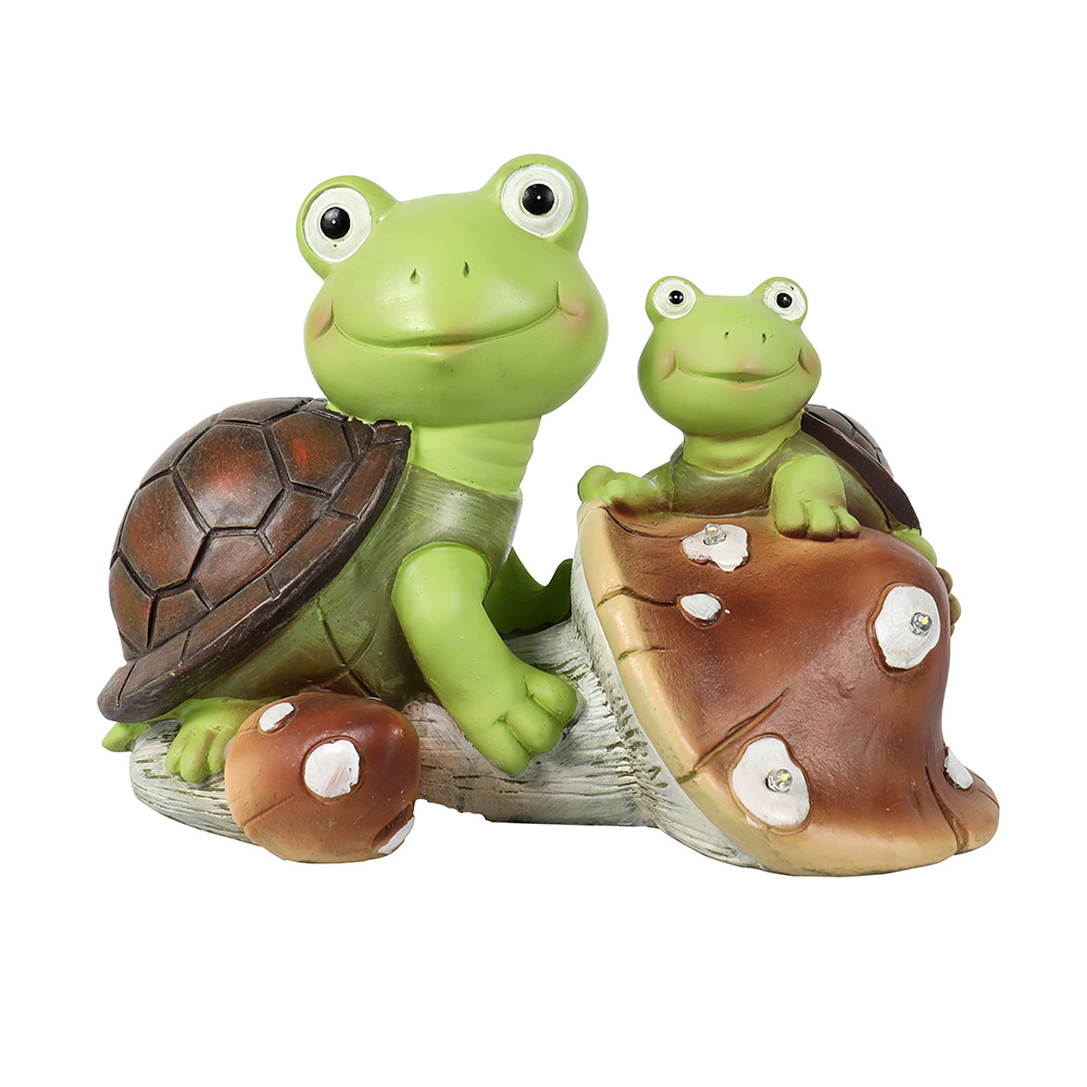 Garden Statue Cute Frog Face Turtles Figurines Solar Powered Resin Animal Sculpture with 3 Led Lights for Patio Lawn Garden Decor