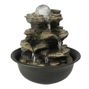21cm indoor water fountain with LED light and rotating ball for the home office