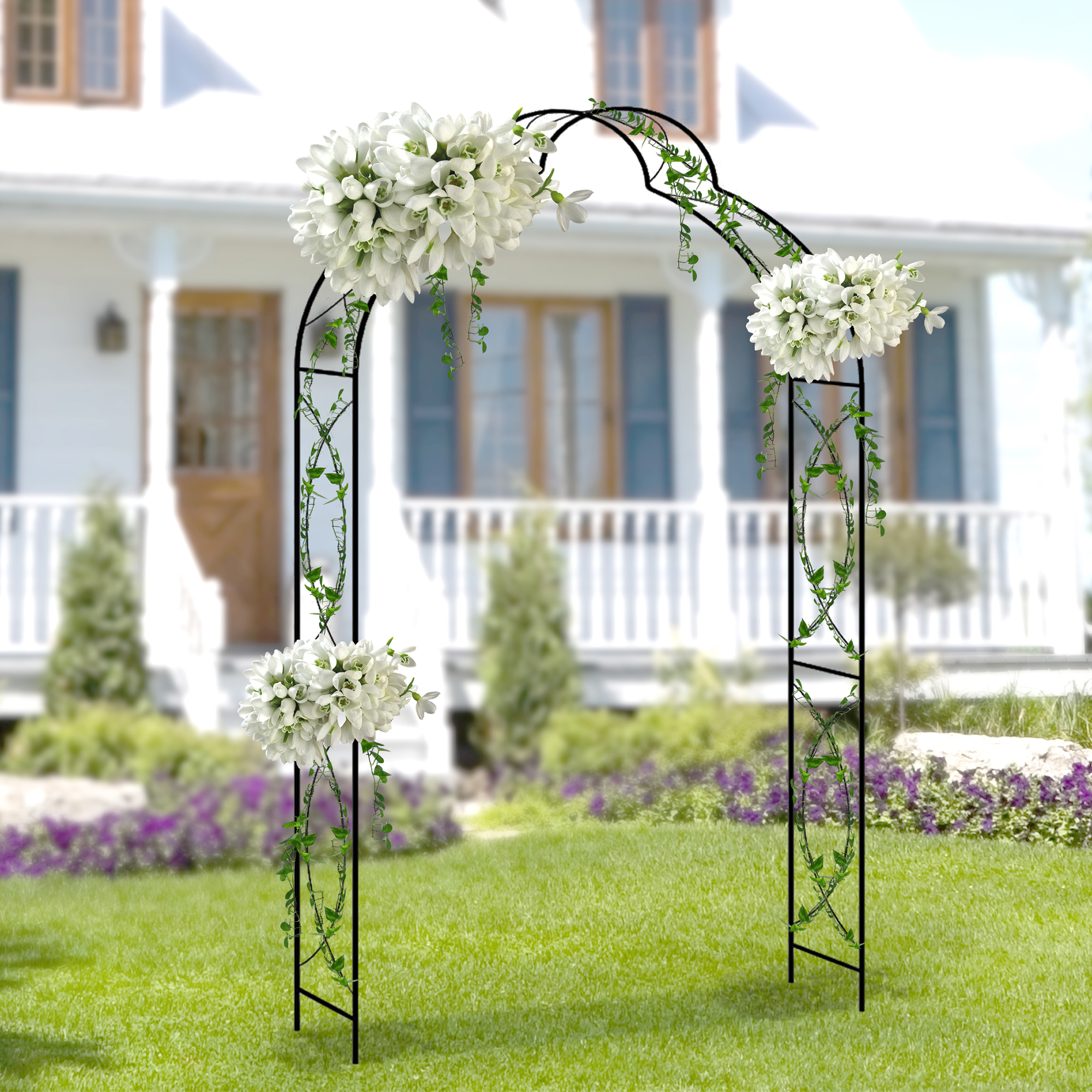 金属花园拱门宽59.1英寸户外家具装饰攀缘植物婚礼新娘派对