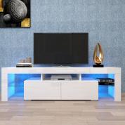 带两个抽屉的白色电视柜,带LED灯