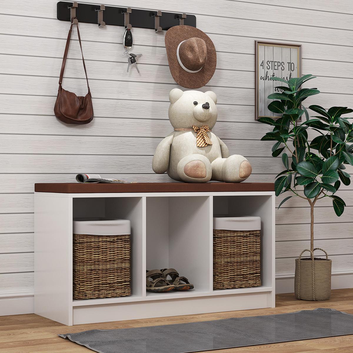 带垫子的鞋凳,3 立方木制储物盒收纳盒,用于鞋子书籍玩具装饰,入口游戏室客厅