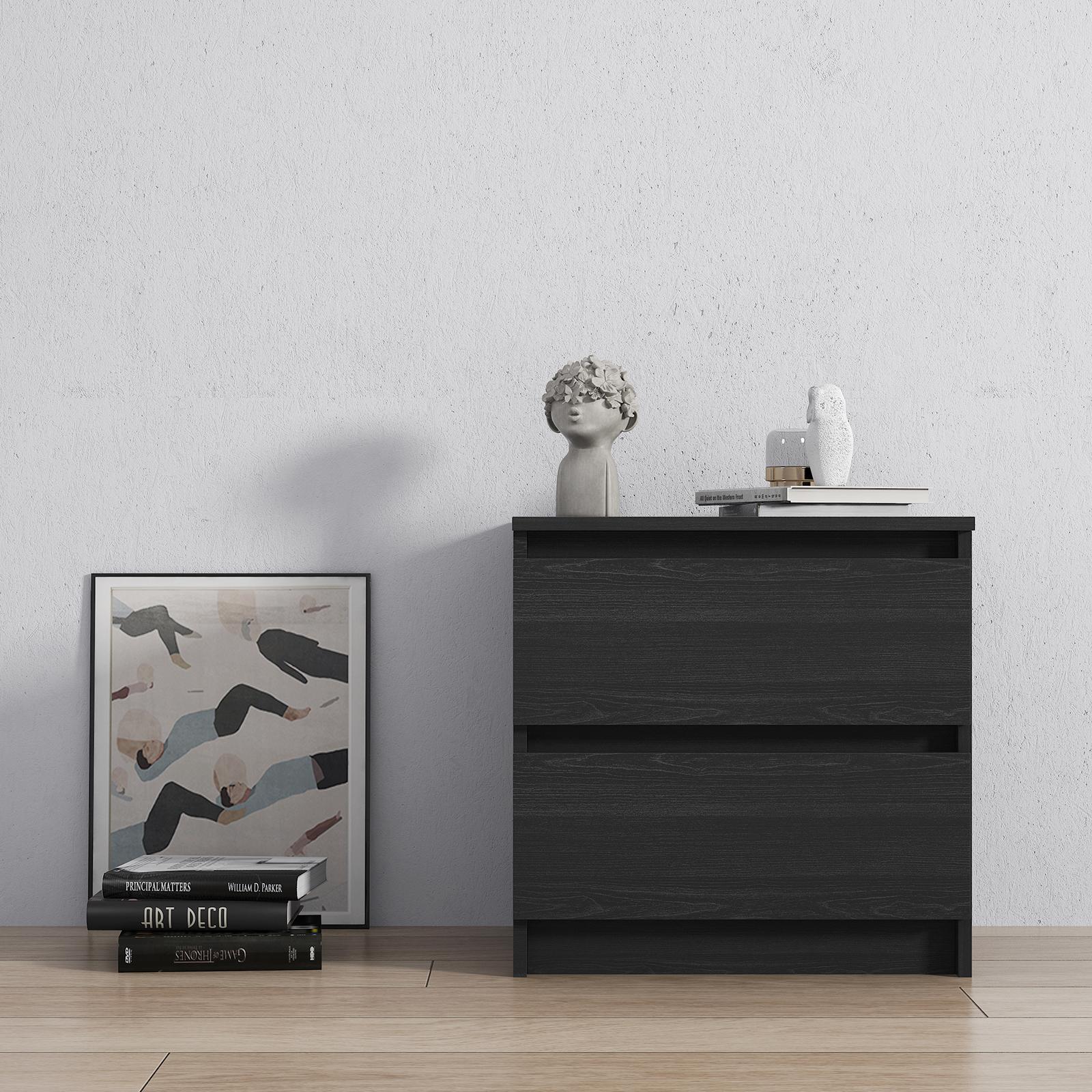 黑色木纹抽屉床头柜