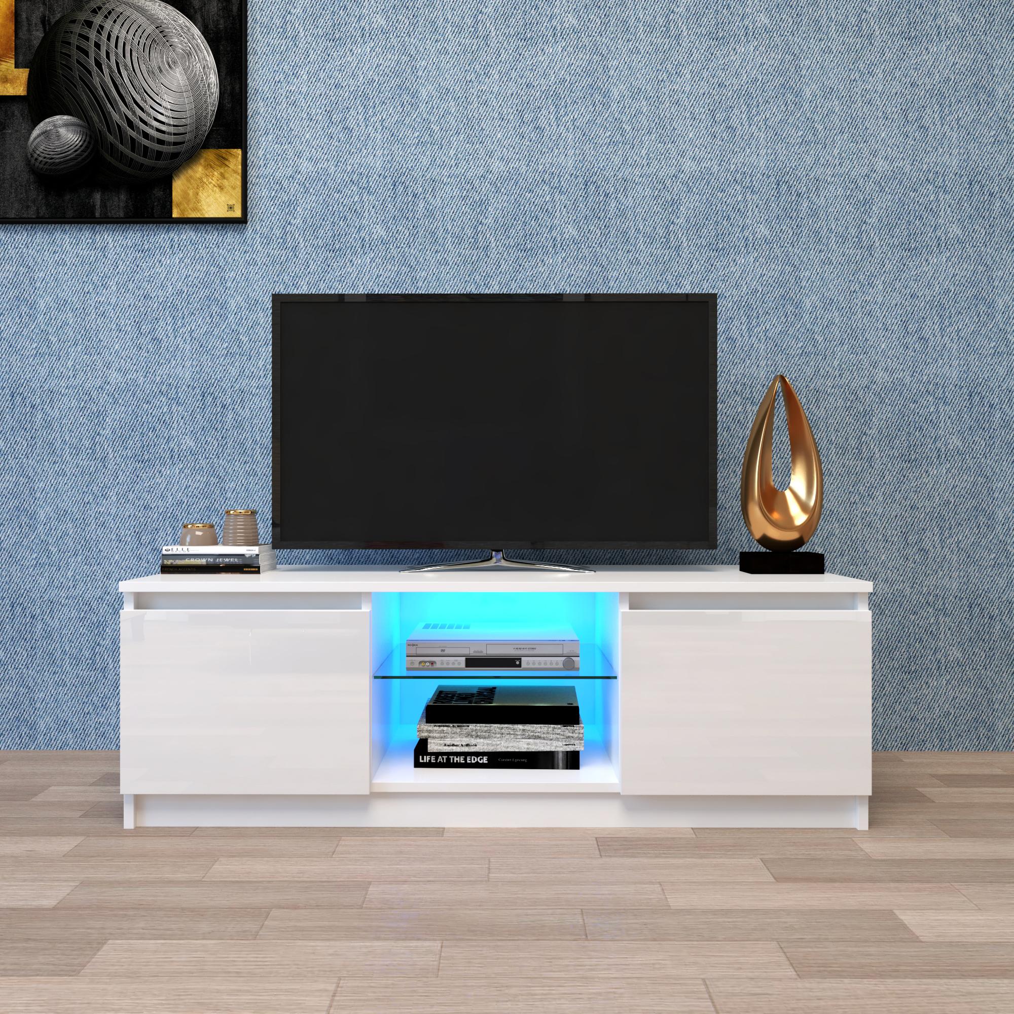 带储物抽屉的现代 LED 灯电视柜