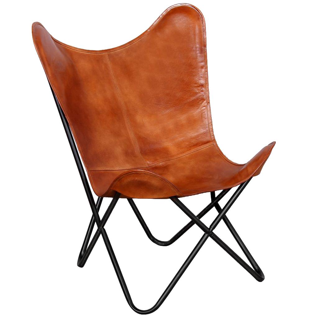 棕色真皮蝴蝶椅