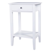 带抽屉两层床头柜 边几 咖啡桌 白色【46x35x70cm】